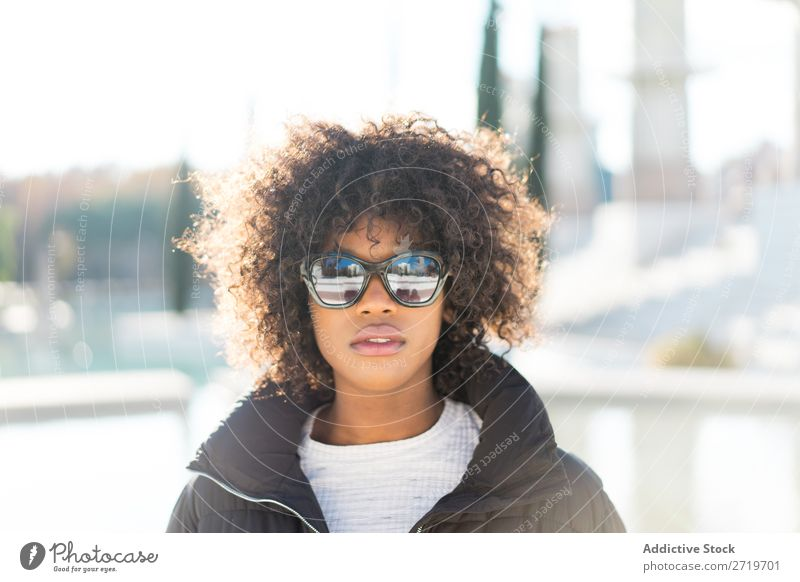 Stylish woman at city pond Woman Ethnic pretty Beautiful Youth (Young adults) Sunglasses Pond Park Cool (slang) City Town Style Portrait photograph Human being