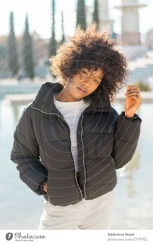 Stylish woman at city pond Woman Ethnic pretty Beautiful Youth (Young adults) Pond Park Cool (slang) City Town Style Portrait photograph Human being Attractive