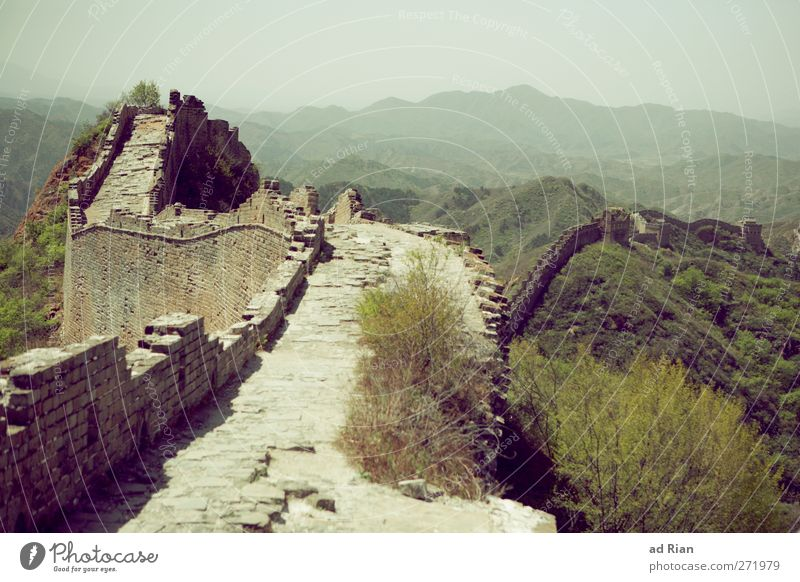 The Great Wall Landscape Cloudless sky Spring Beautiful weather Plant Tree Grass Bushes Forest Hill Rock China Deserted Ruin Tower Hunting Blind