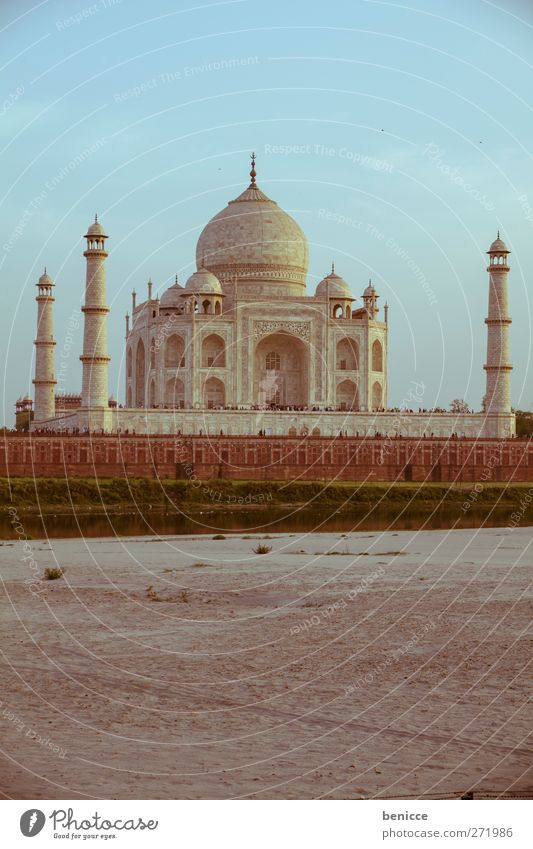 Taj Mahal India Tourist Attraction Vacation & Travel Travel photography Sightseeing Tourism Asia Building Architecture Historic Old Deserted River