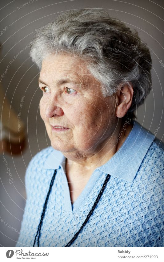 Grandmother II Feminine Woman Adults Female senior Senior citizen 1 Human being 60 years and older Looking Old Authentic Blue Gray Reliability Colour photo