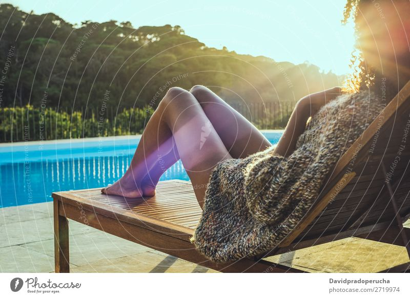 woman relaxing on a hammock enjoying sunset by the swimming-pool Beautiful Book Chair Comfortable Landscape Day Deck enjoyment Woman Garden Girl Green Hammock