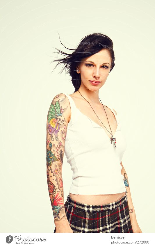 tattoo Woman Human being Tattoo Tattooed Tattoo artist Portrait photograph Youth (Young adults) Young woman European Isolated Image segregated White