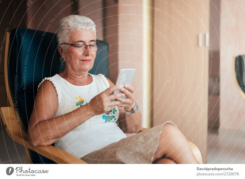 Elderly woman on the mobile phone at home Woman grey hair Cellphone PDA Old Home Communication retired Human being Technology Leisure and hobbies Sit