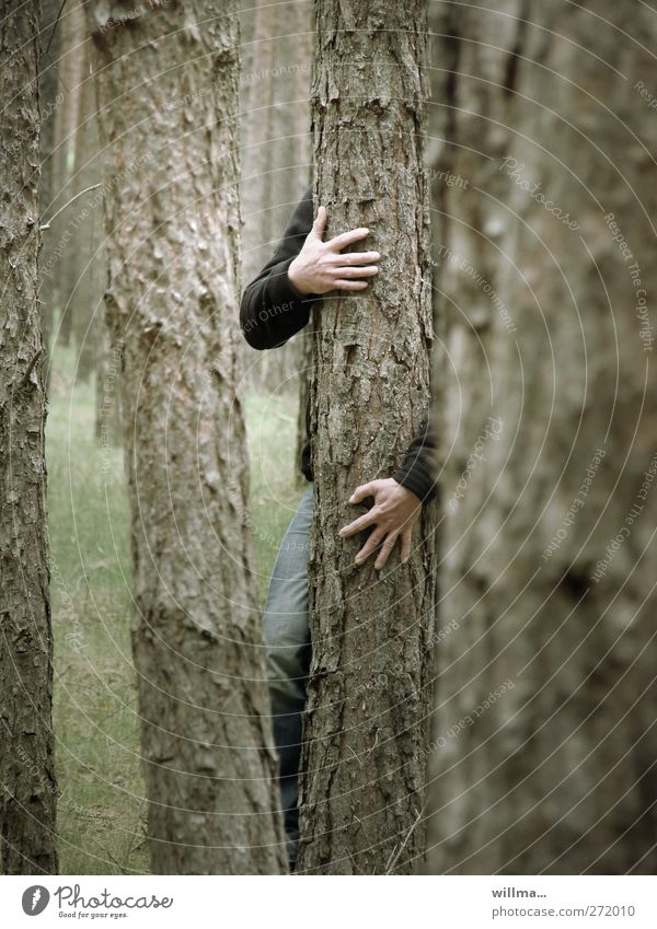 Human being Nature Green Hand Tree Loneliness Forest Dark Eroticism Gray Brown Dance Arm Power Masculine Fingers
