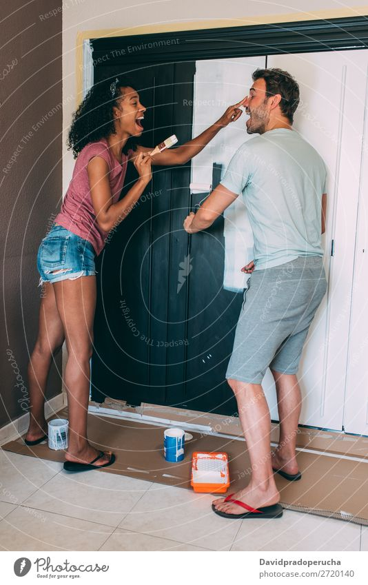 Interracial couple painting a wardrobe Painting (action, artwork) Relationship Paintbrush Design Cheerful Couple 2 Happy