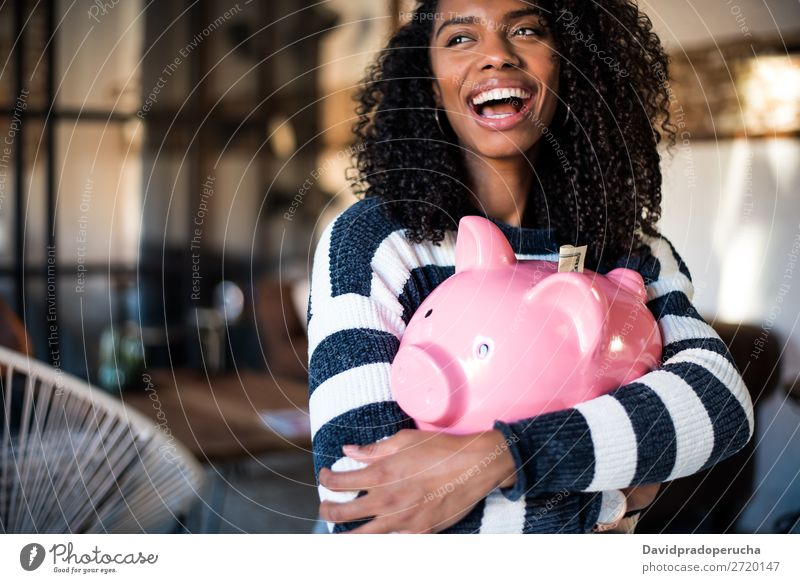 Black woman hugging her piggy bank Woman Money box savings Success Business cash Coin US Dollar Beautiful Happy Cheerful investment wealth Budget