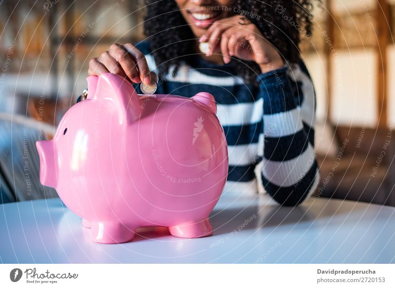 Black woman with saving piggy bank Woman Money box savings Success Business cash Coin Euro Beautiful Happy Cheerful investment wealth Budget Financial Industry