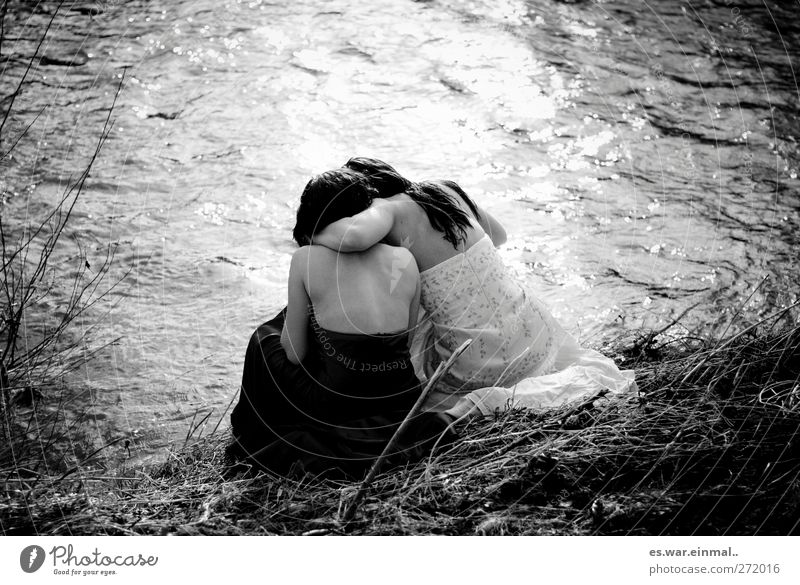 Loneliness Feminine Dream Friendship 2 Together Sit Communicate River Touch Relationship Fairy tale Embrace Fairy To console Elf