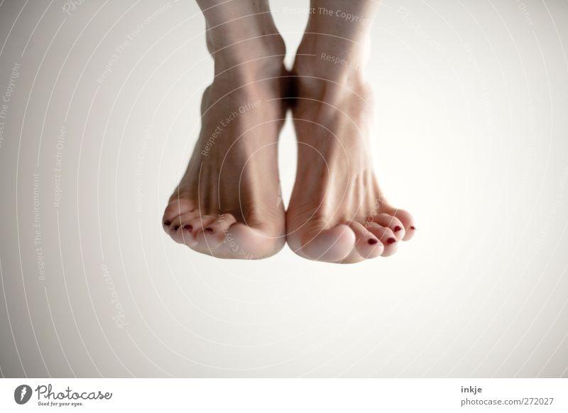 Human being Feminine Sports Life Movement Jump Bright Tall Fitness Dynamics Ease Sports Training Barefoot Toes Gymnastics Hop