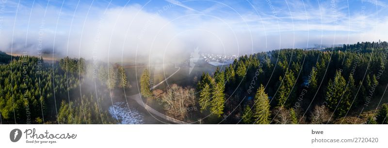 Aerial view out of the clouds Environment Nature Landscape Plant Sky Clouds Winter Climate Beautiful weather Forest Village Populated