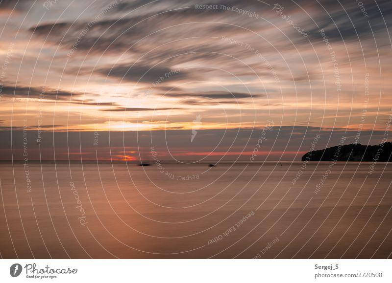 Blurred Nature Landscape Air Water Sky Clouds Horizon Sunrise Sunset Coast Beach Baltic Sea Island Rügen Binz Germany Deserted Boating trip Sailboat Small