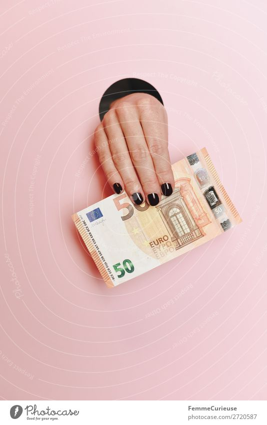 Hand of a woman holding a 50 Euro note Feminine 1 Human being Financial Industry Euro bill € Money Bank note Share Pink To hold on Circle Fingers Nail polish