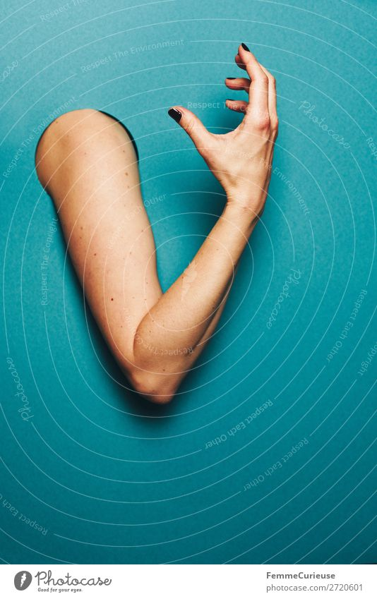 Upper arm of a woman Feminine 1 Human being Communicate Gesture Expression To talk Arm Hand Fingers Turquoise Circle Hollow Colour photo Studio shot