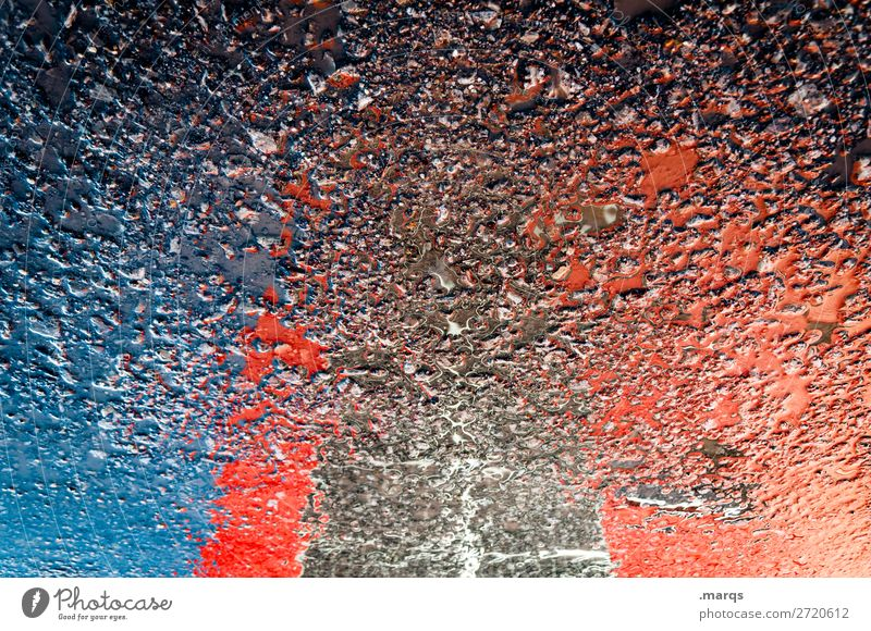 puddle Cloudless sky House (Residential Structure) Manmade structures Building Architecture Street Asphalt Blue Red Black Perspective Puddle Colour photo