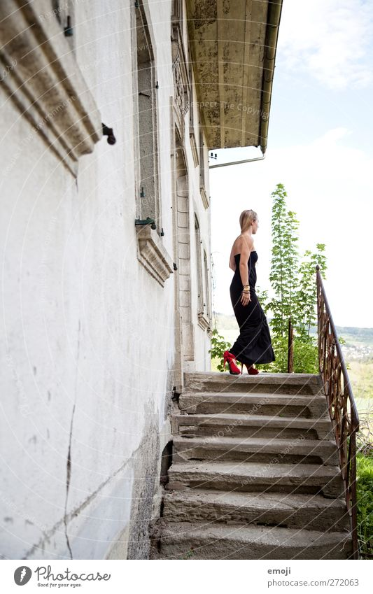 Human being Youth (Young adults) Beautiful House (Residential Structure) Adults Feminine Eroticism Fashion Young woman Stairs Elegant 18 - 30 years Dress