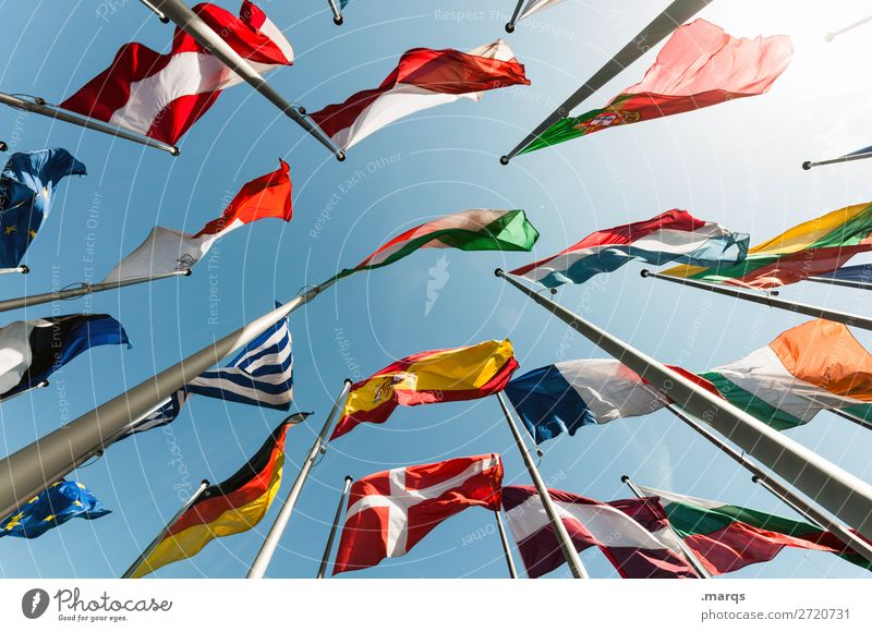 flags Cloudless sky Sign Flag Perspective Politics and state Europe Germany Greece France Austria Denmark Portugal Spain Poland Alliance Colour photo