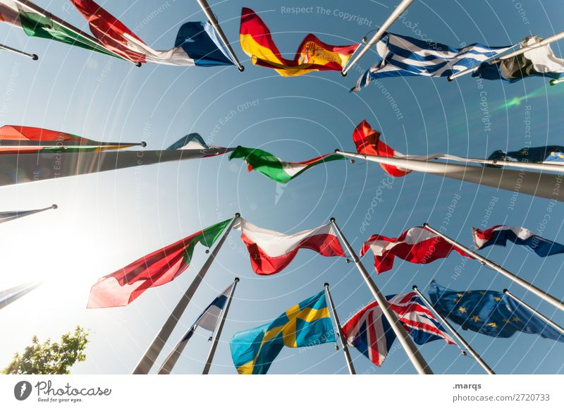 Freedom Europe Sign Many Flag Cloudless sky Politics and state