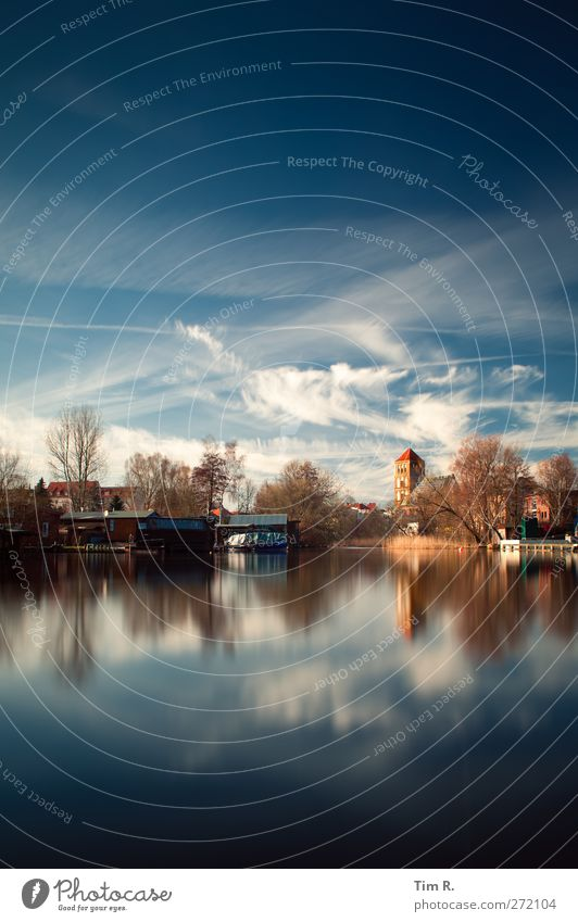 Blue Rostock Water Sky Clouds Beautiful weather River bank Town Church Harbour Nikolai Church Colour photo Exterior shot Deserted Copy Space top
