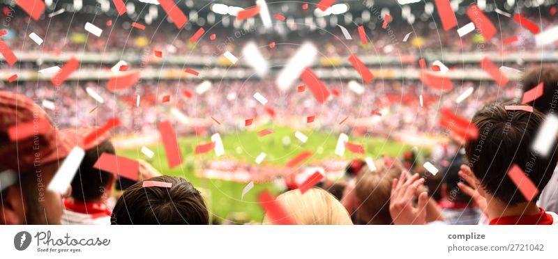 Enthusiastic football fans in the stadium | Panorama Joy Athletic Leisure and hobbies Feasts & Celebrations Sports Ball sports Sports team Audience Fan Hooligan