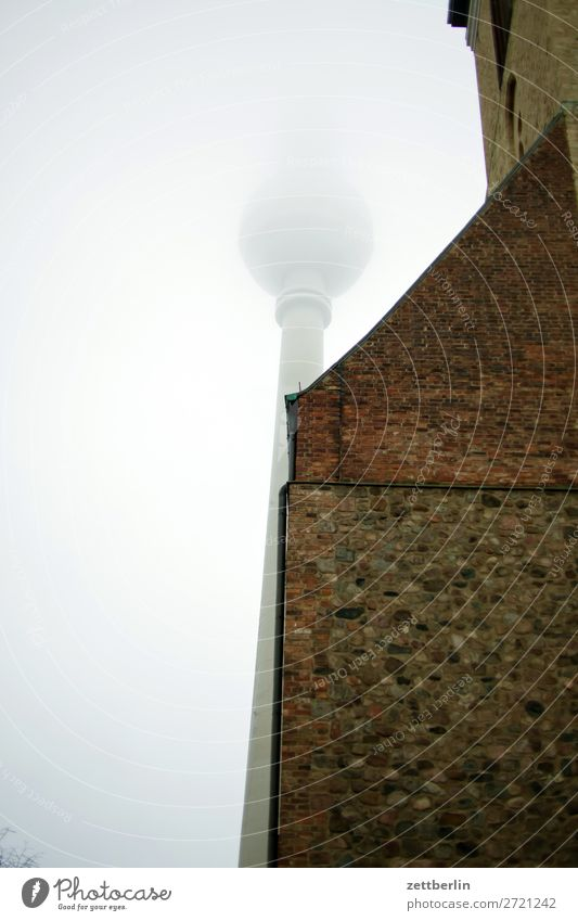 Television Tower and St. Mary's Church Architecture Berlin City Germany Fog Haze Fine particles Berlin TV Tower Worm's-eye view Capital city