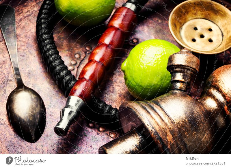 Turkish hookah with aroma lime shisha lemon citrus taste of lime smoking tobacco nargile smoke nicotine east relaxation fruit arabic mouthpiece pipe fragrant