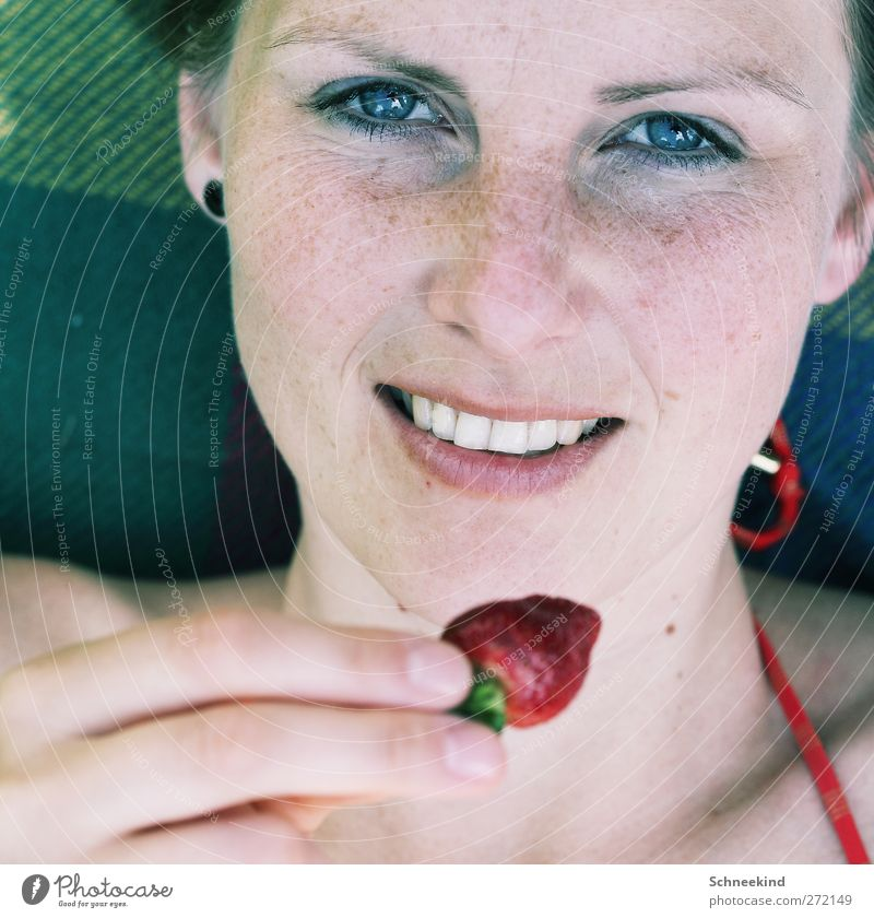 summer day Food Fruit Picnic Human being Feminine Young woman Youth (Young adults) Woman Adults Life Skin Head Hair and hairstyles Face Eyes Ear Nose Mouth Lips