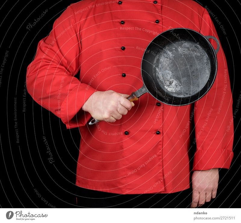 cook in red uniform holding frying pan Pan Kitchen Restaurant Profession Cook Human being Man Adults Hand Clothing Red Black Cast iron Caucasian chef cooking