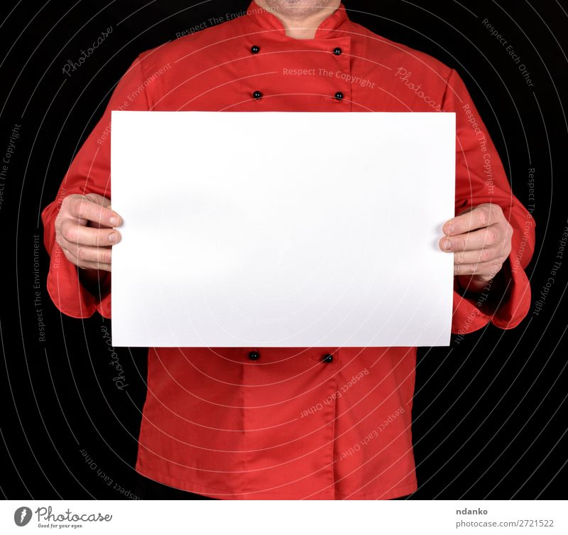 chef in a red uniform holding a blank white sheet Design Business Human being Man Adults Hand Fingers Paper Write Red Black White empty Blank square Mock-up
