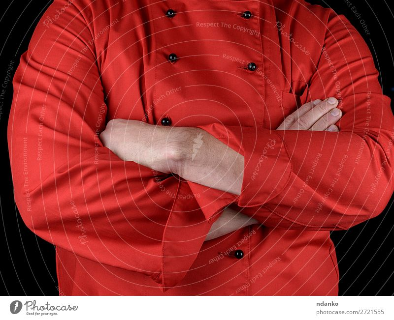 chef in red uniform crossed his arms over his chest Elegant Style Kitchen Restaurant Profession Cook Human being Man Adults Hand Clothing Jacket Red Black