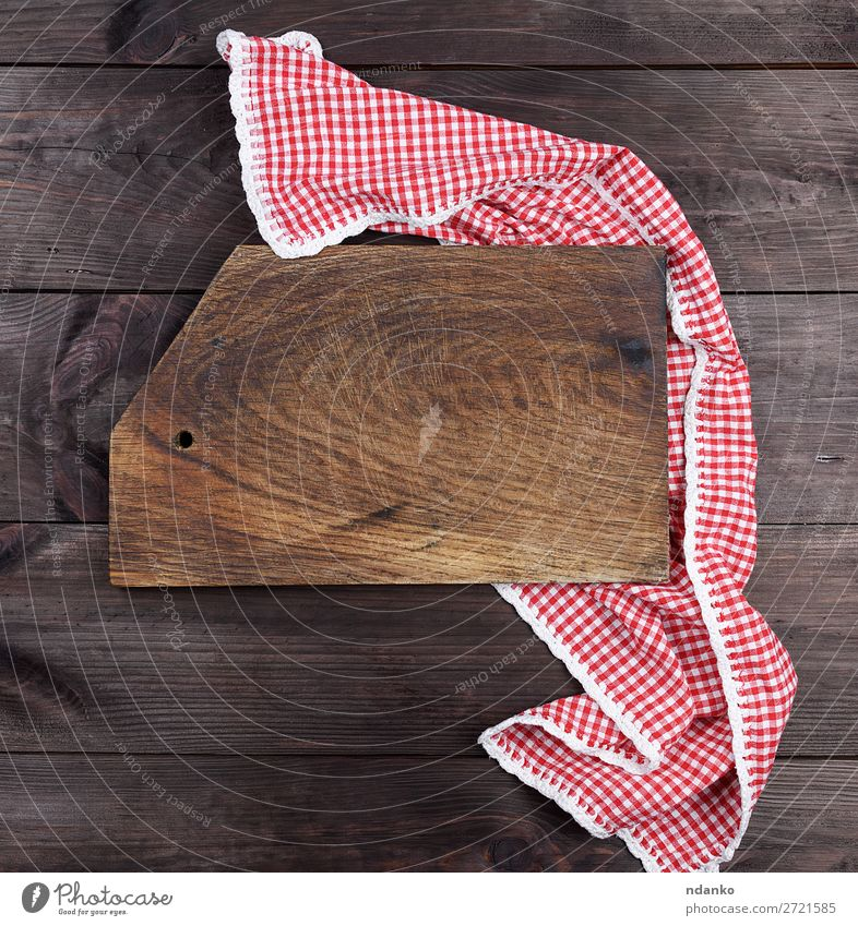 Empty very old wooden kitchen cutting board Old Red Dark Wood Copy Space Brown Above Design Retro Dirty Kitchen Cloth Material Rustic Surface Consistency