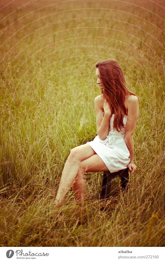 Human being Youth (Young adults) White Beautiful Summer Calm Adults Meadow Feminine Grass Young woman 18 - 30 years Bushes Warm-heartedness 13 - 18 years Dress