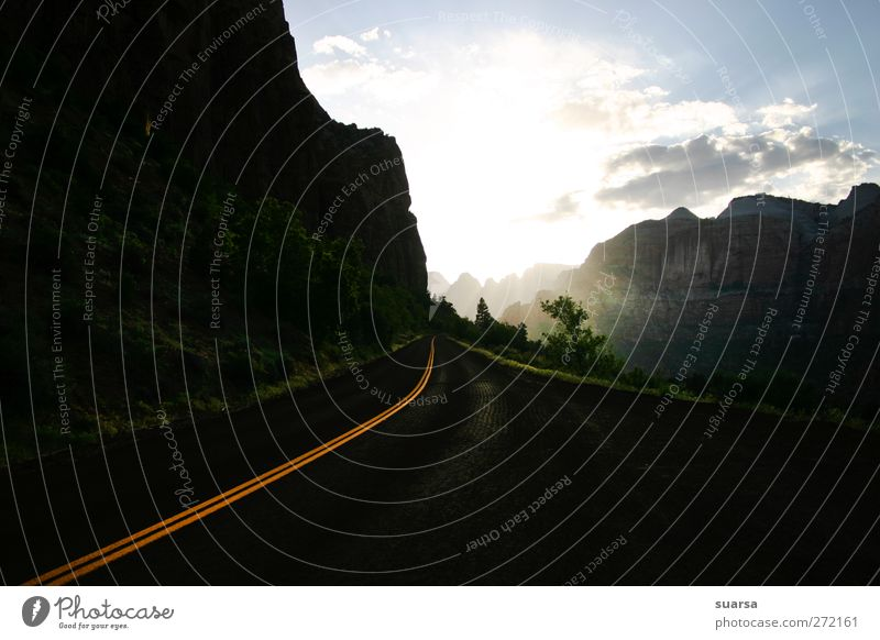 Road to the future Nature Sky Garden Rock Yosemite National Park USA California Americas Transport Road traffic Motoring Street Vehicle Car Futurism