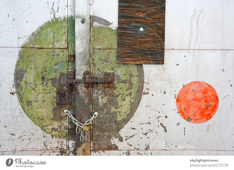 Locked Shapes Building Door Old Faded Green Red White Stress Colour Grunge paint Weathered worn grungy wall panel abandoned Industrial Warehouse Consistency
