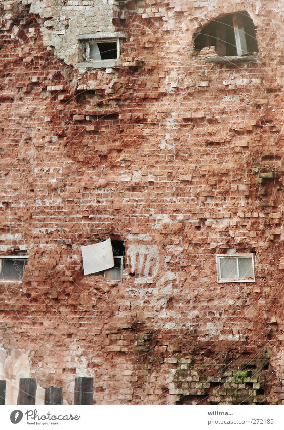 Keeping up the facade just before collapse House (Residential Structure) Building Wall (barrier) Wall (building) Facade Window Brick wall Hideous Broken Town