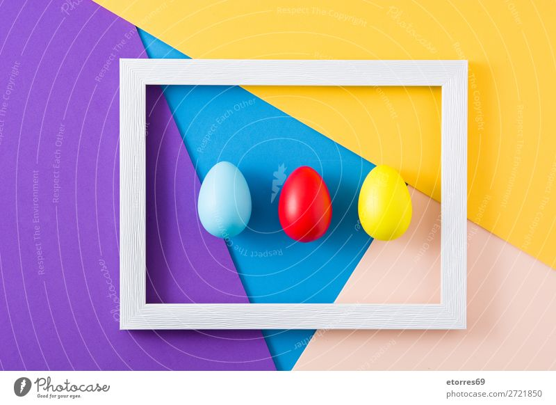 Easter concept.wooden frame with colorful easter eggs Egg Neutral Background Background picture Vacation & Travel Feasts & Celebrations Public Holiday Spring