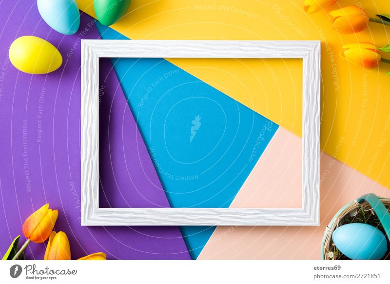 Easter concept.wooden empty frame with easter eggs and tulips Egg Neutral Background Background picture Vacation & Travel Feasts & Celebrations Public Holiday
