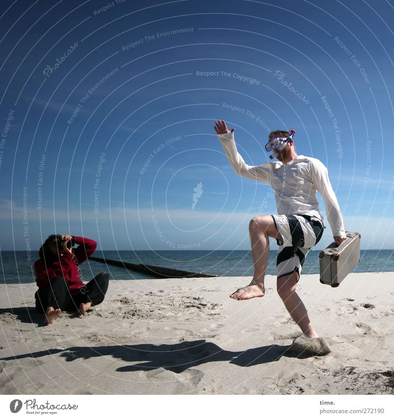 Hiddensee | Performing The Hidden Sea Dance Human being Masculine Feminine Body 2 Environment Water Sky Horizon Beautiful weather Coast Beach Suitcase