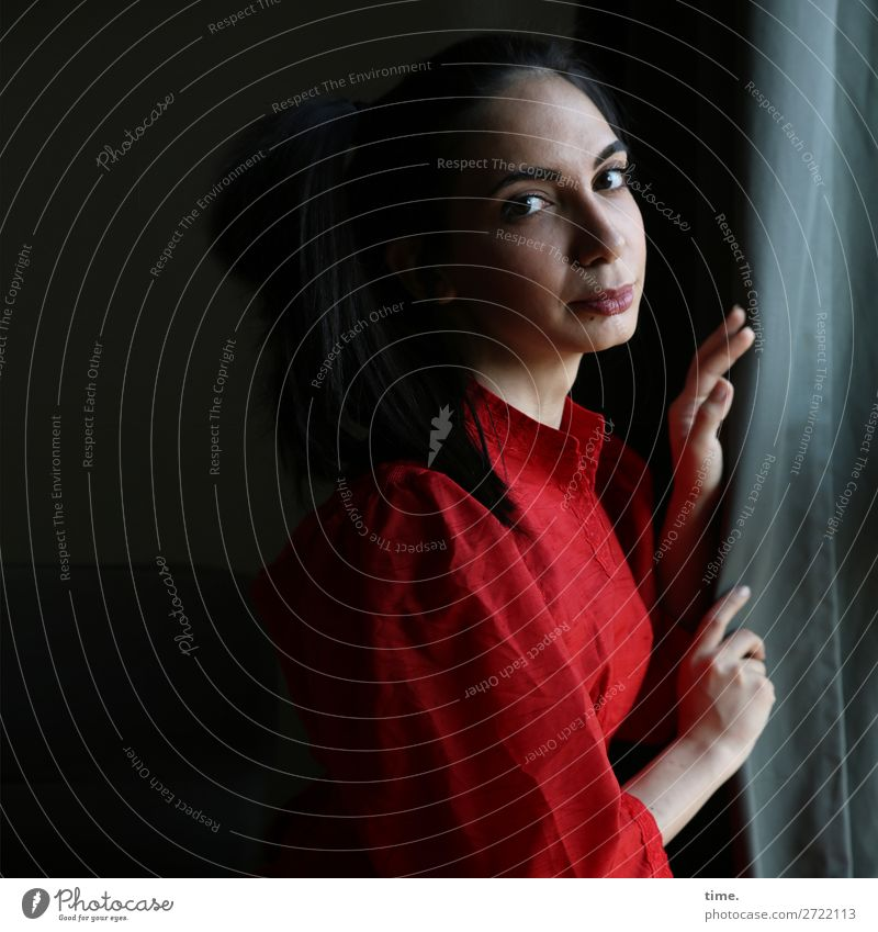 At the window Curtain Drape Rag Cloth Feminine Woman Adults 1 Human being Dress Black-haired Long-haired Observe Think To hold on Looking Dark Beautiful