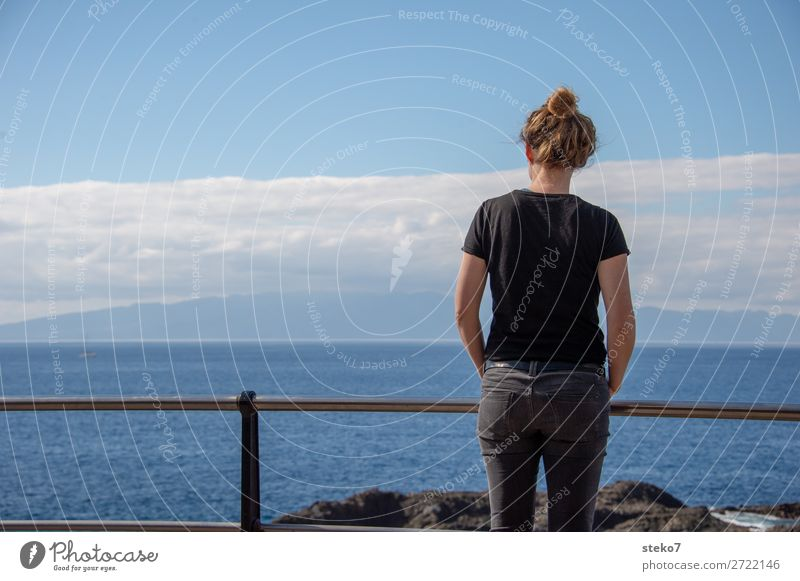 Human being Youth (Young adults) Young woman Blue Ocean Black 18 - 30 years Adults Coast Think Horizon Stand Beautiful weather Wait Observe Curiosity