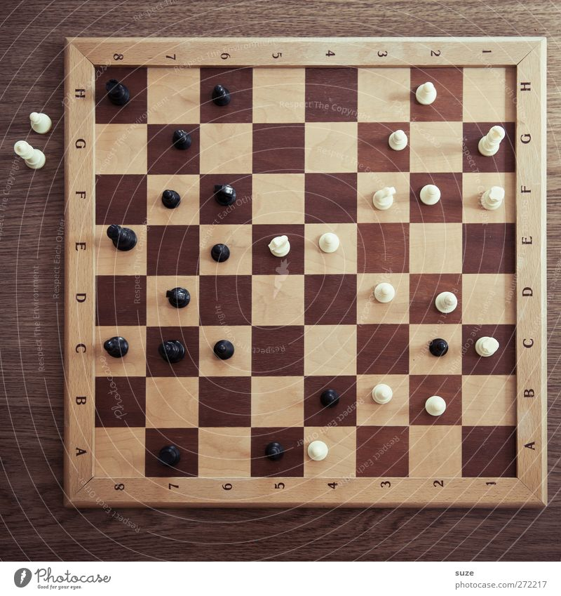 spectators Leisure and hobbies Playing Board game Chess Wood Think Brown Black White Concentrate Chess piece Chessboard Wooden board Piece Texture of wood