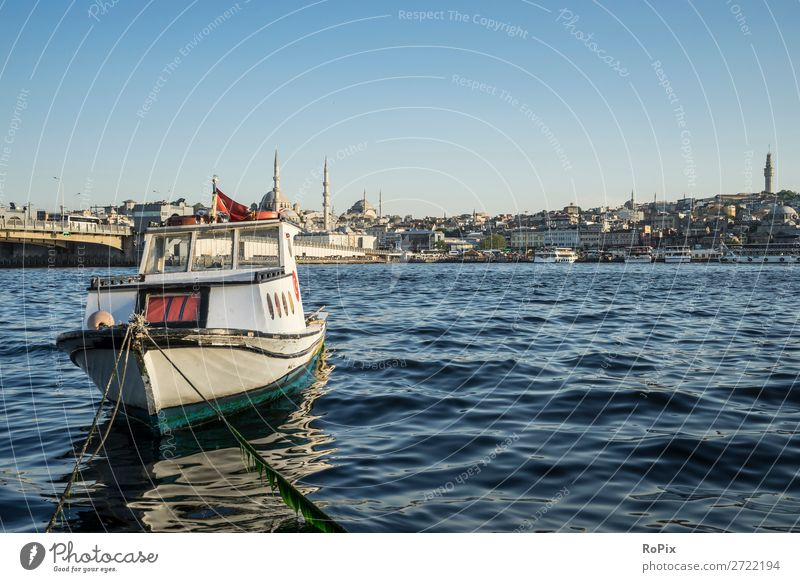Fishing boat on the Golden Horn. Fishing (Angle) Vacation & Travel Tourism Sightseeing City trip Summer Waves Environment Landscape Water Cloudless sky