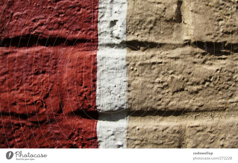 hanoverian wall Manmade structures Wall (barrier) Wall (building) Red White Painted Light brown Brick wall Colour photo Exterior shot Close-up Pattern