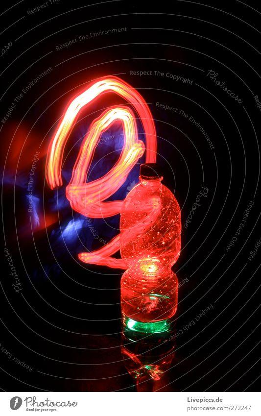 red light bottle Beverage Cold drink Drinking water Bottle Illuminate Red Colour photo Interior shot Night Artificial light Light Light (Natural Phenomenon)