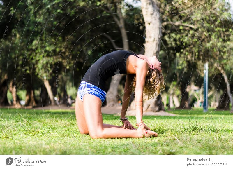Yoga - Woman yoga instructor doing camel pose Ustrasana asana Lifestyle Beautiful Wellness Mountain Sports Human being Adults Nature Fitness Faded Thin Retro
