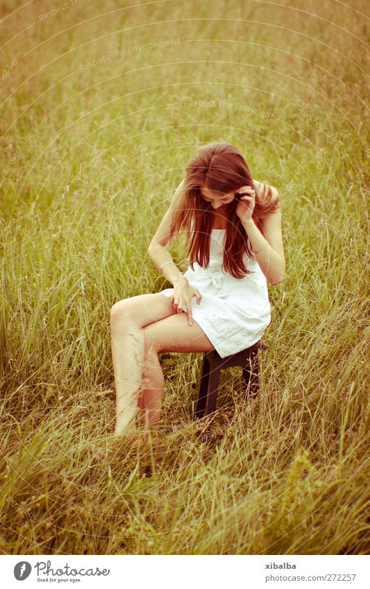 Bugs everywhere! Lifestyle Style Beautiful Summer Young woman Youth (Young adults) 1 Human being 18 - 30 years Adults Nature Grass Meadow Dress Crouch