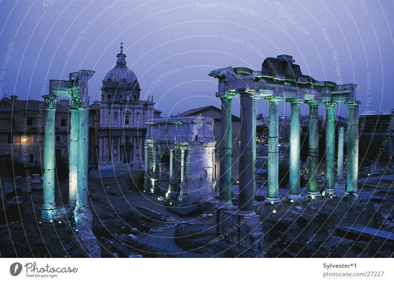 Roman Forum Rome Forum Romano Italy Night Green Light Ancient Europe Column Lighting