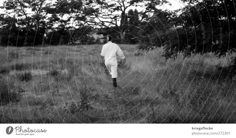 Human being Nature White Meadow Movement Grass Garden Art Park Exceptional Walking Adventure Running Hunting Boots Bizarre