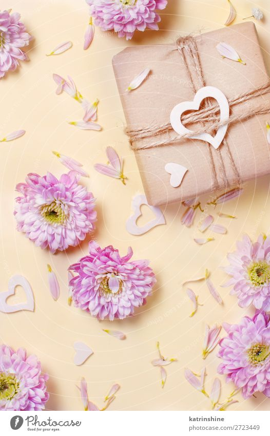 Flowers composition with hearts and gift box Woman Adults Yellow Art Pink Above Design Decoration Heart Creativity Gift Wedding Mother Card Blossom leave