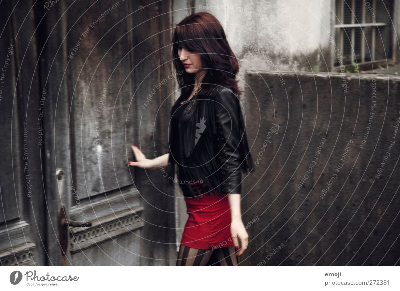 red wine Feminine Youth (Young adults) 1 Human being 18 - 30 years Adults Fashion Red Black Skirt Rocking Colour photo Subdued colour Exterior shot Day